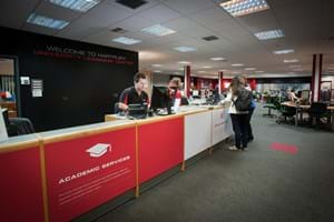 welcome desk in the university learning centre