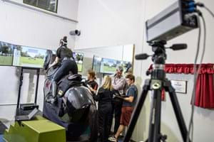 Biomechanics research taking place in the rider performance centre, using a mechanical horse
