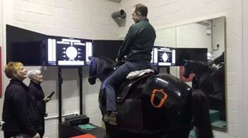 Welcome back, Jonty – Olympic rider gets aboard hi-tech simulator at Hartpury