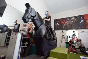 Research taking place in the rider performance centre, using the mechanical horses
