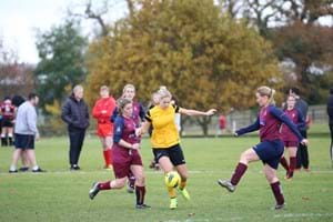 Hartpury students playing a game of football