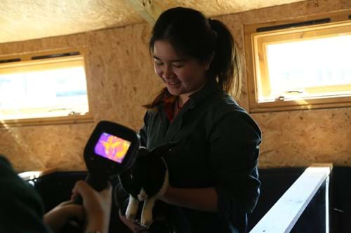Student with thermal imaging camera
