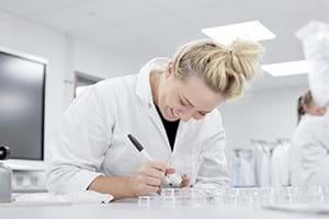student studying in lab